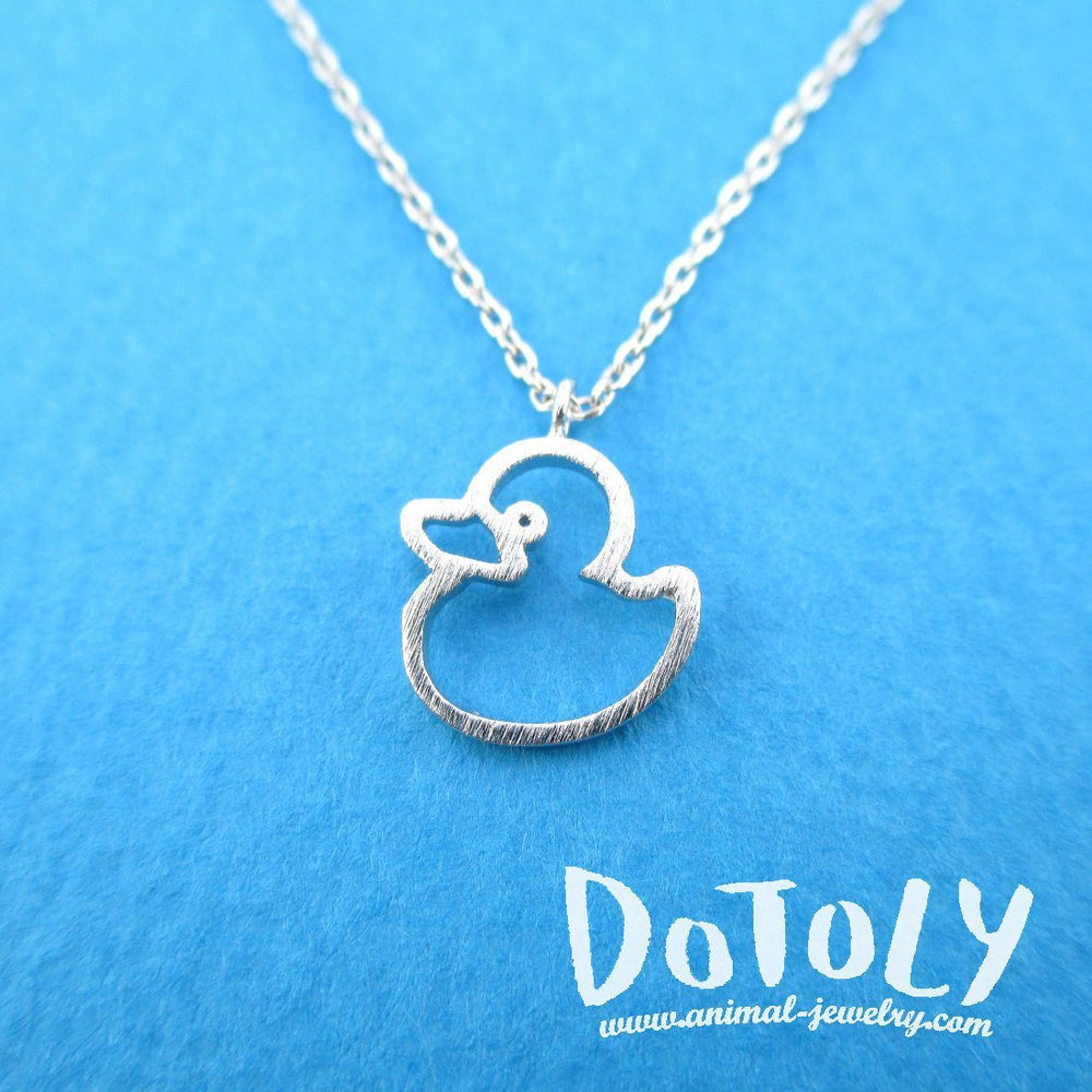 Little Rubber Ducky Duck Outline Shaped Pendant Necklace in Silver | DOTOLY