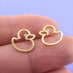 Little Rubber Ducky Duck Outline Shaped Stud Earrings in Gold