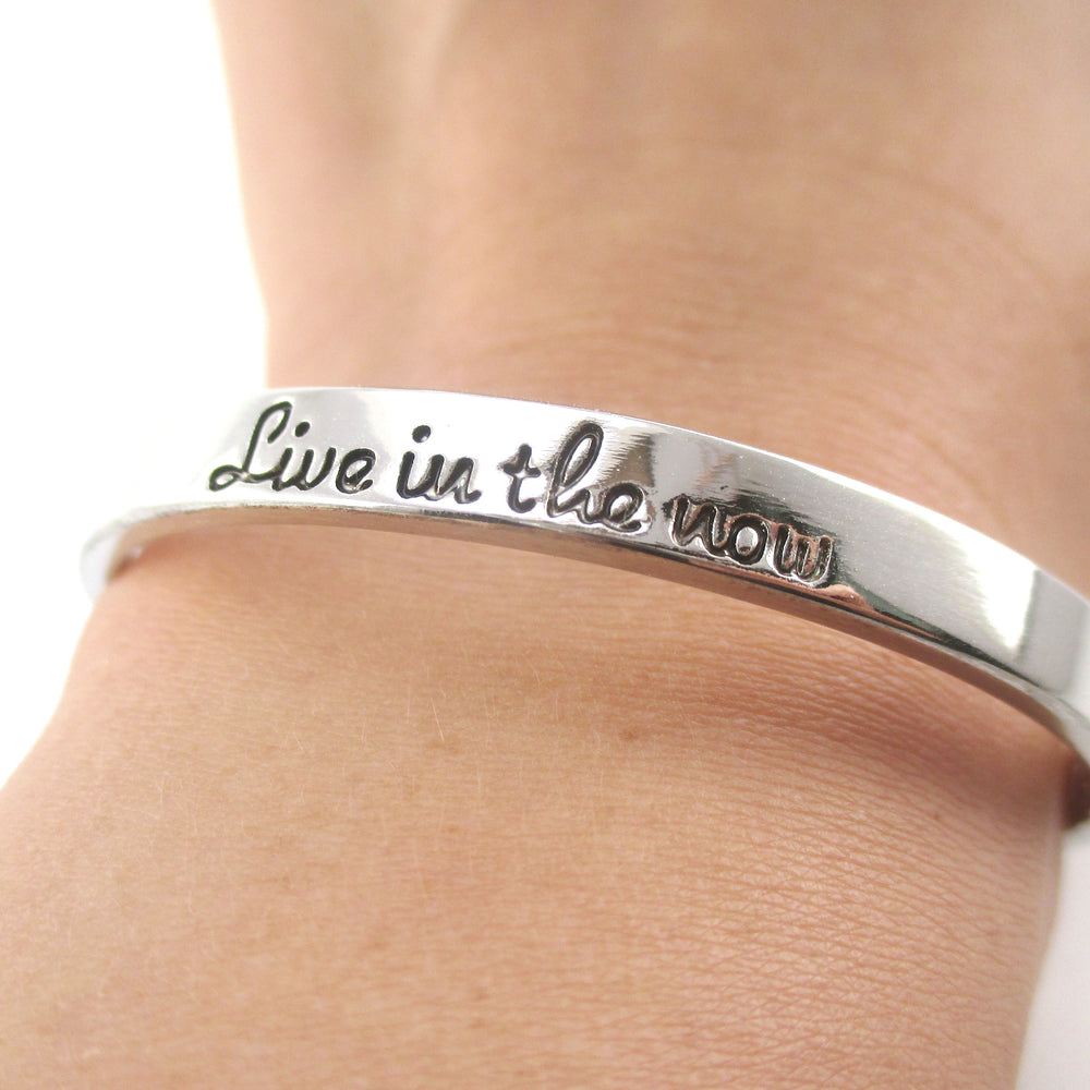 Live in the Now Be Present Quote Typography Bangle Bracelet in Silver