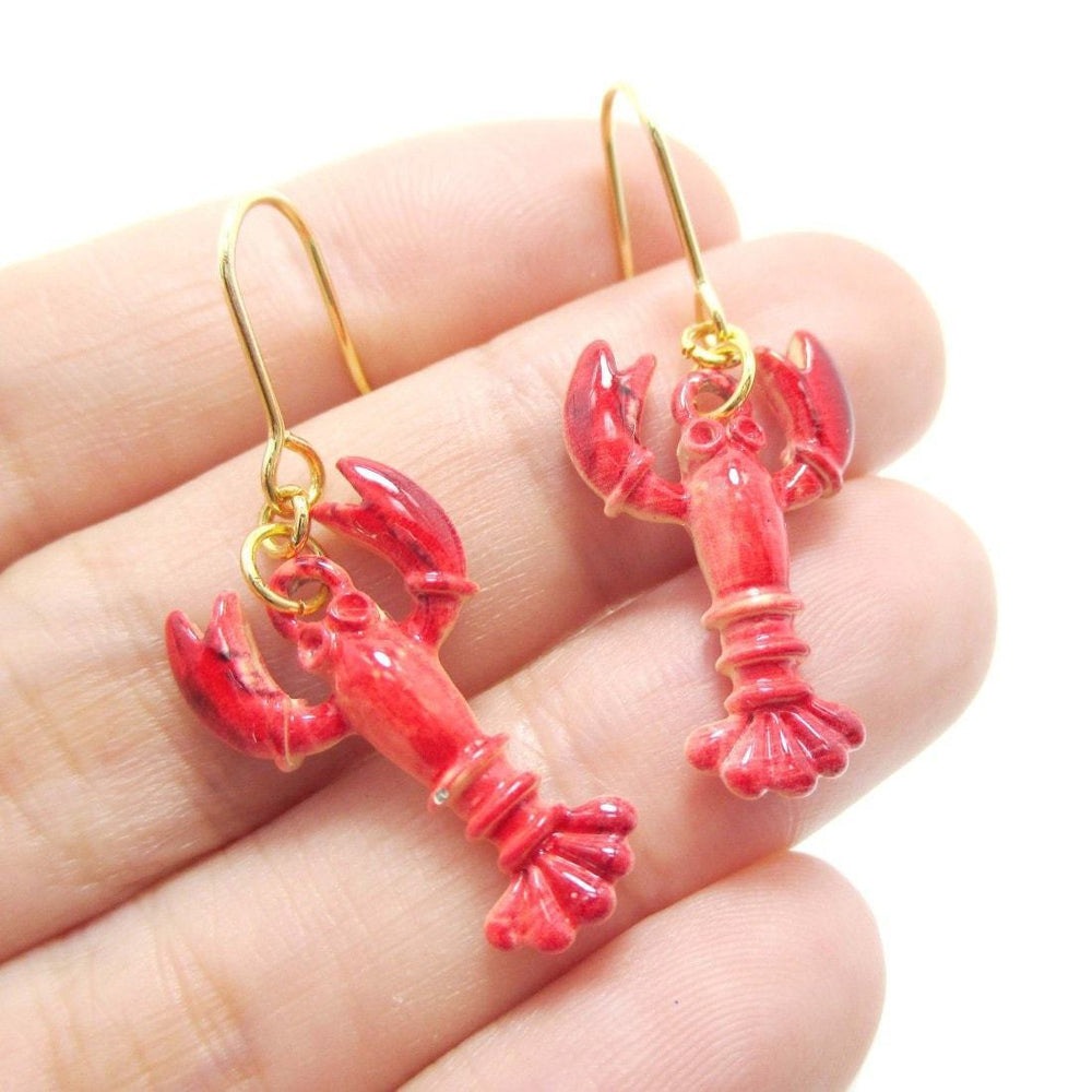 Lobster Crayfish Shaped Dangle Earrings in Red | Animal Jewelry | DOTOLY