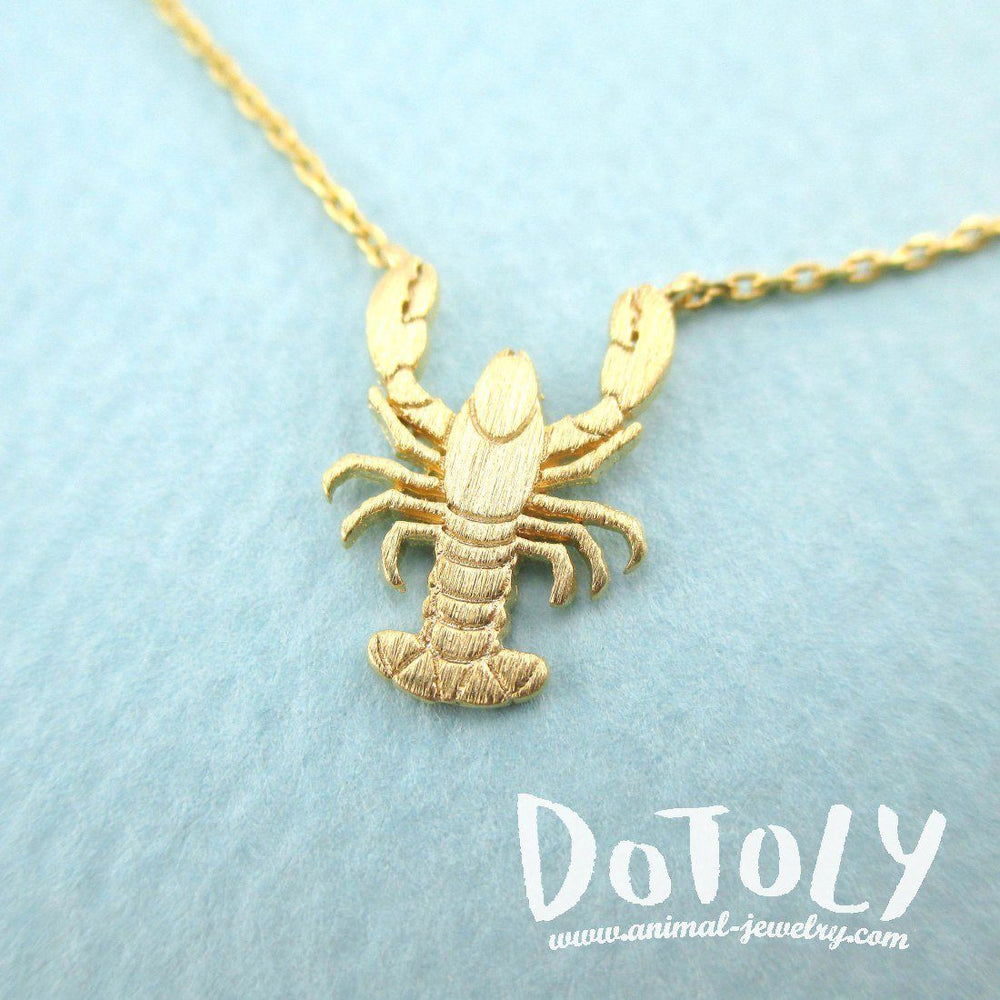 Lobster Shaped Marine Life Inspired Pendant Necklace in Gold | DOTOLY