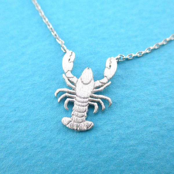 Lobster Shaped Marine Life Inspired Pendant Necklace in Silver | DOTOLY
