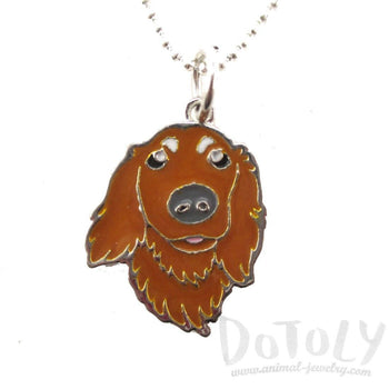 Long Haired Dachshund Dog Shaped Animal Pendant Necklace | DOTOLY | DOTOLY