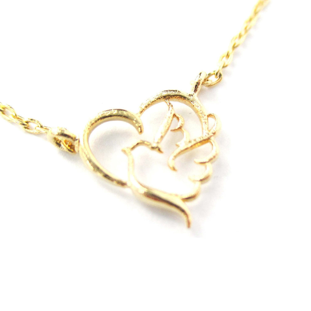 Love and Hope Heart Shaped Dove Outline Gold Charm Necklace