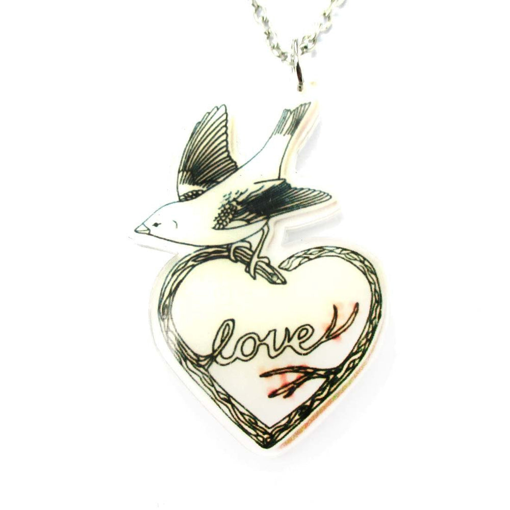 Love Bird on a Heart Shaped Tree Branch Shaped Acrylic Illustrated Pendant Necklace | DOTOLY