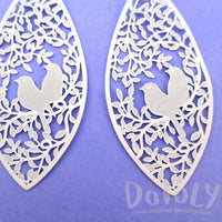 Love Birds Floral Filigree Cut Out Petal Shaped Drop Earrings in White | DOTOLY | DOTOLY
