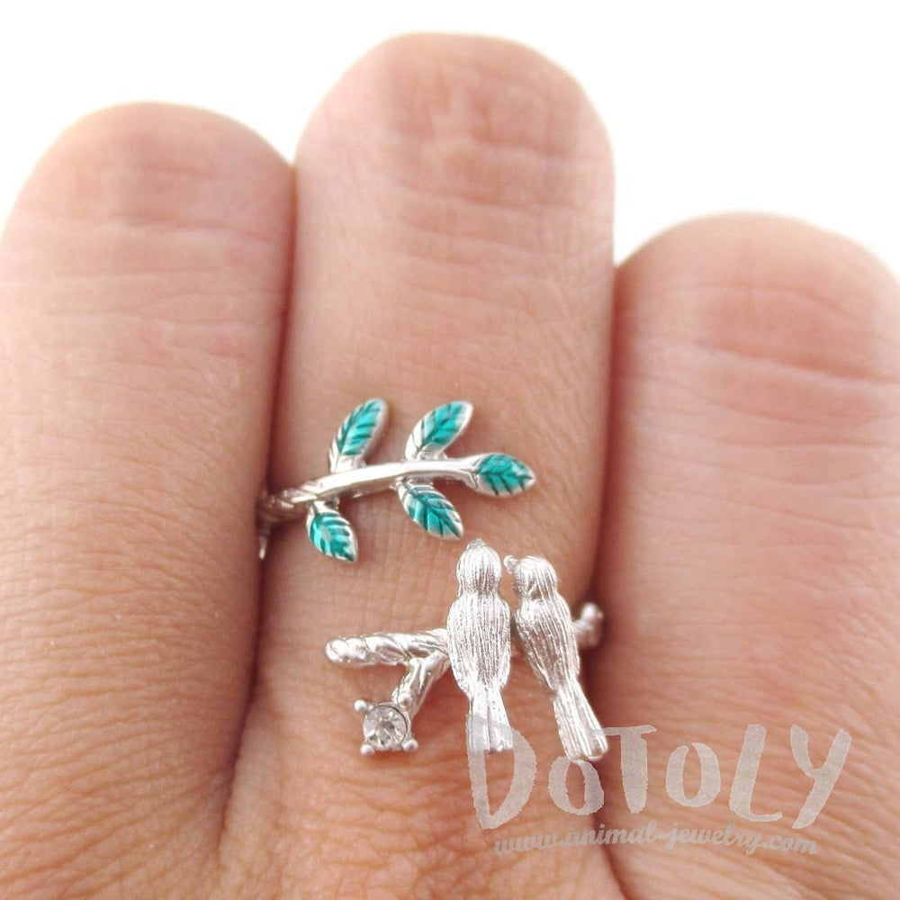 Love Birds Resting on a Branch Shaped Adjustable Wrap Ring in Silver