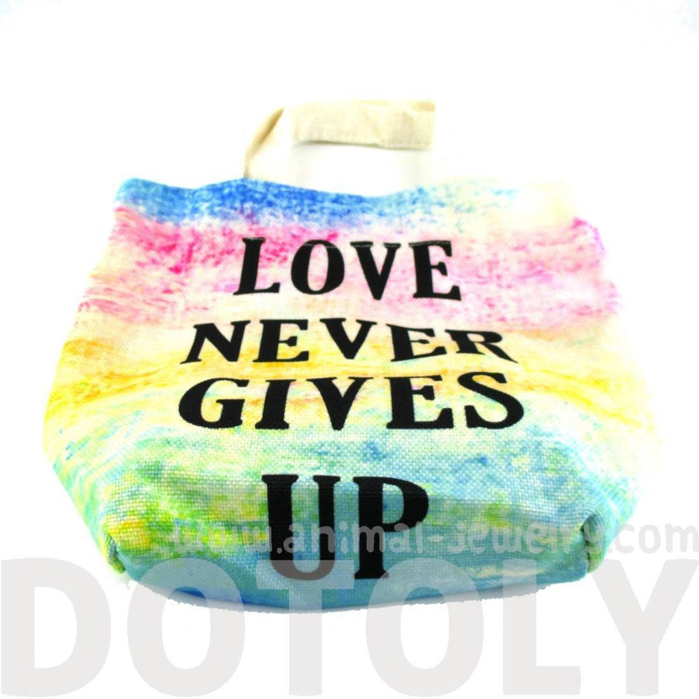 """Love Never Gives Up"" Print Rainbow Watercolor Lunch Tote Bag 