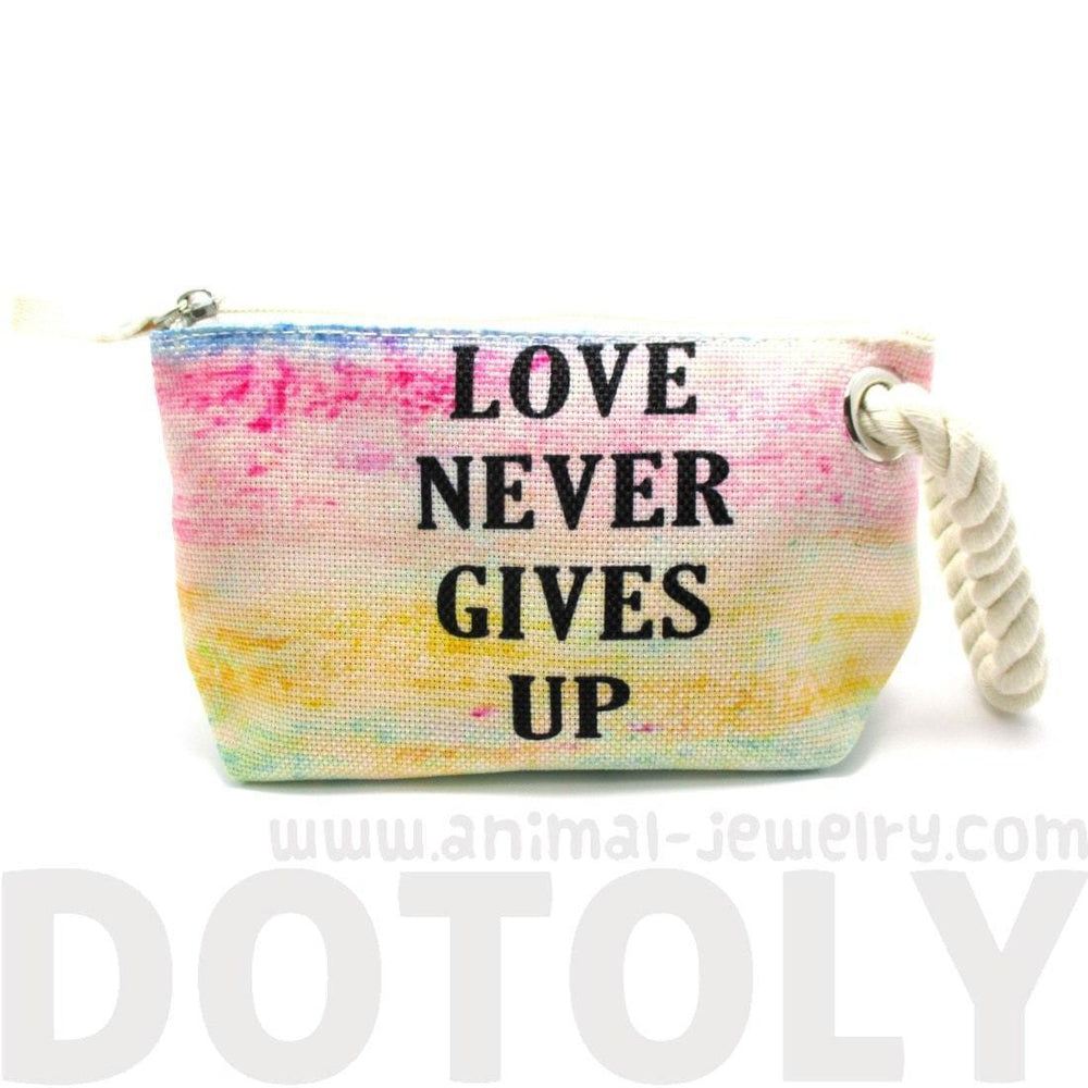 Love Never Gives Up Rainbow Watercolor Fabric Clutch Make Up Bag | DOTOLY | DOTOLY