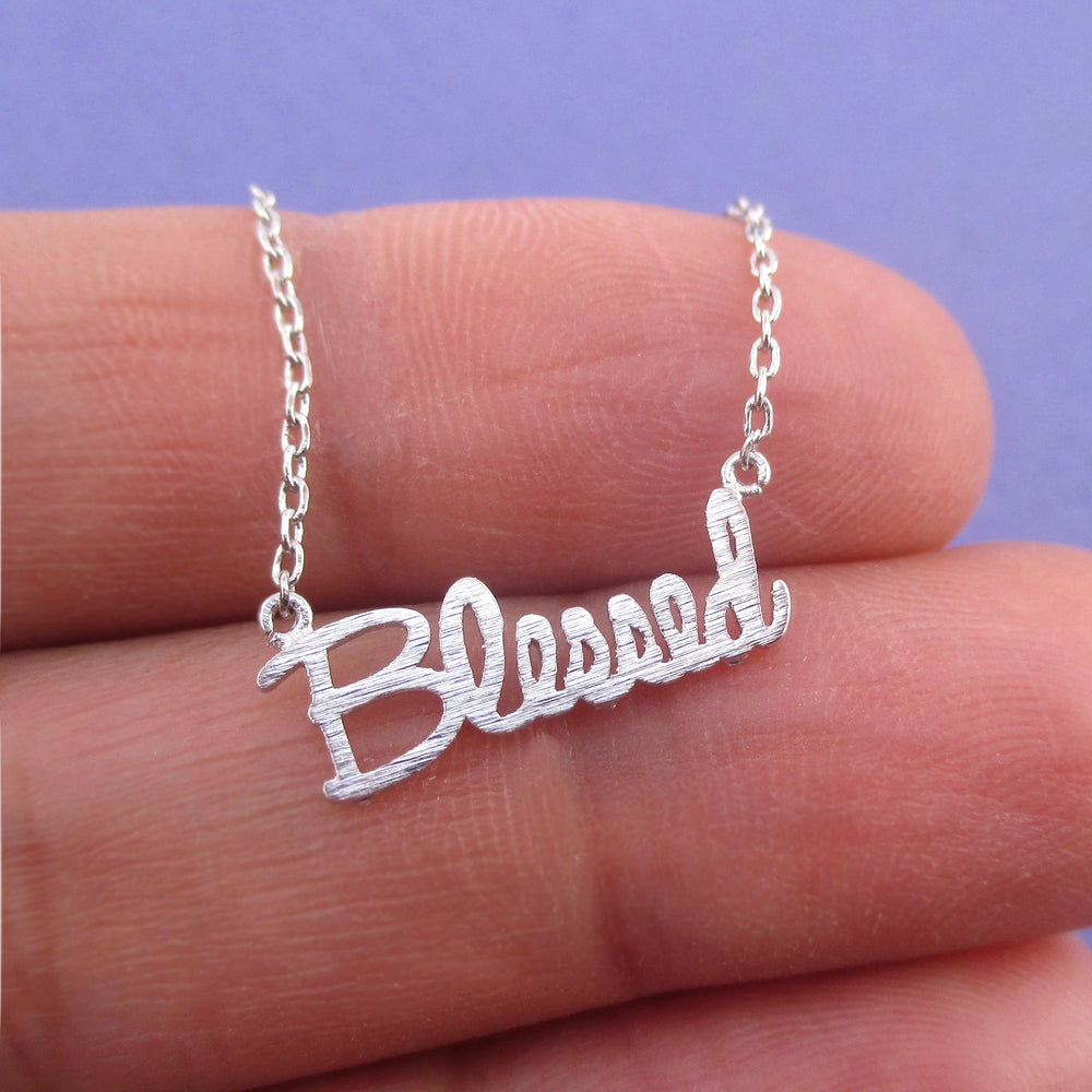Luck Happiness Thankful Blessed Cursive Typography Pendant Necklace