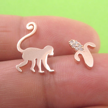 Macaque Monkey Banana Silhouette Shaped Sterling Silver Stud Earrings
