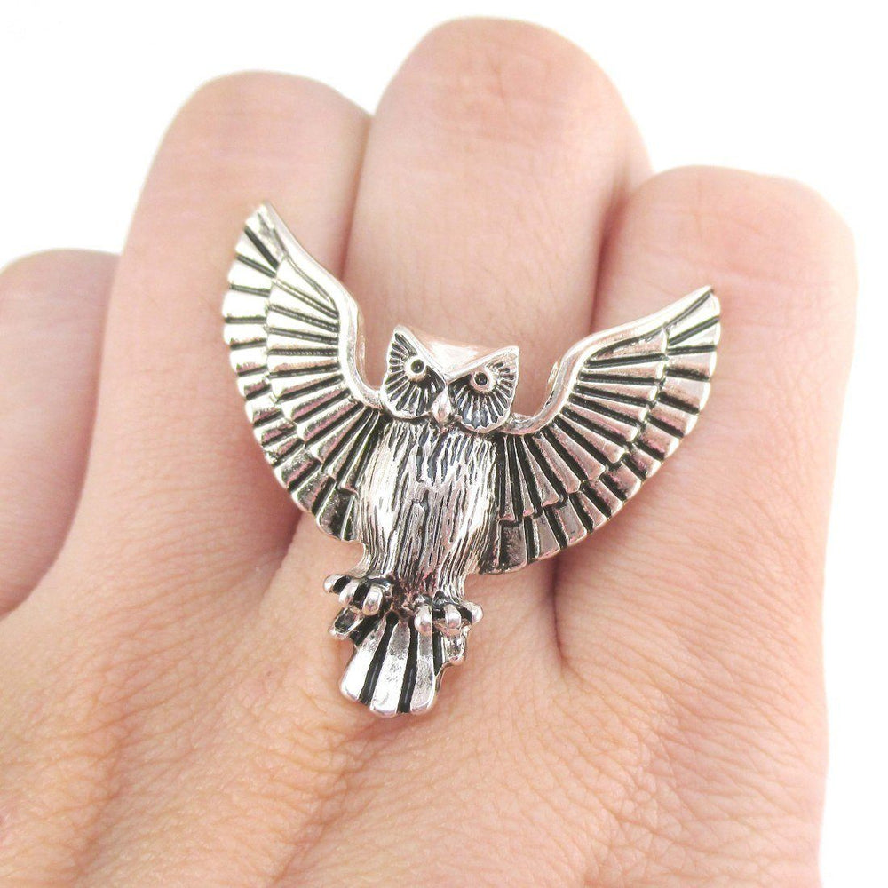 Majestic Owl with Wings Spread Shaped Animal Ring in Silver | DOTOLY