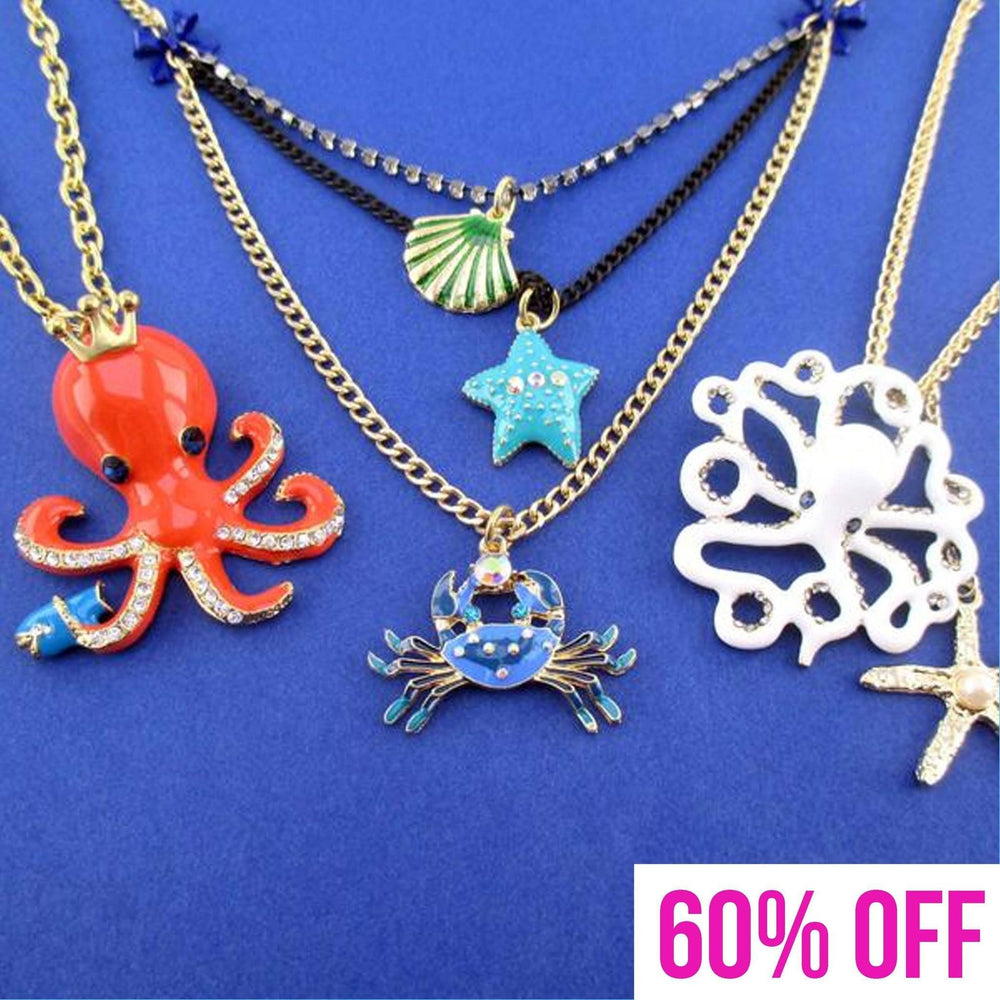 Marine Life Inspired Octopus Sea Creatures Charm Necklace 3 Piece Set