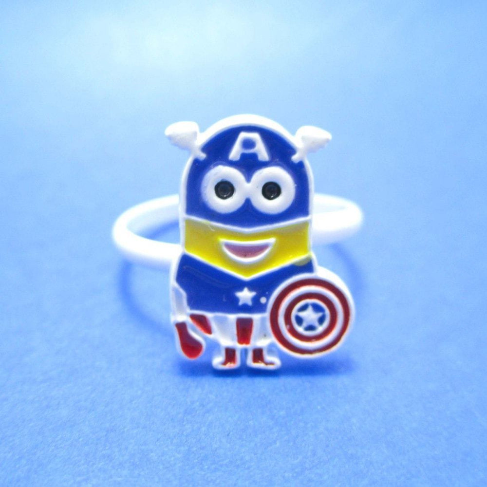 Marvel Minion Captain America Despicable Me Inspired Adjustable Ring | DOTOLY | DOTOLY