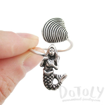 Mermaid and Seashell Wrap Around Adjustable Ring in Silver | DOTOLY | DOTOLY