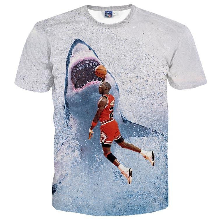 Michael Jordan Slam Dunking a Great White Shark Graphic Print T-Shirt | DOTOLY