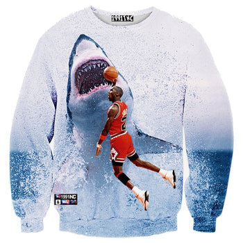 Michael Jordan Slam Dunking a Great White Shark Graphic Print Unisex Pullover Sweater | DOTOLY