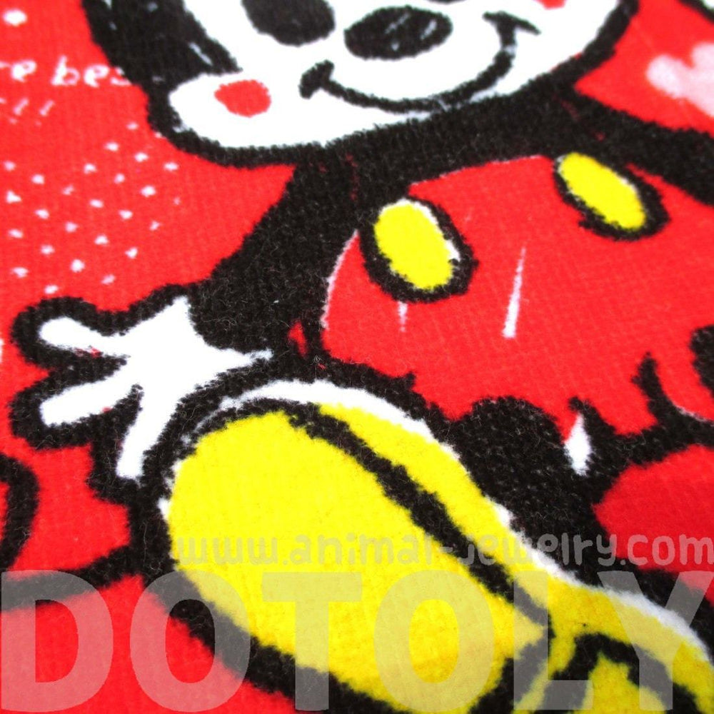 Mickey Minnie Mouse Cartoon Print Square Face Towel Handkerchief in Red | DOTOLY