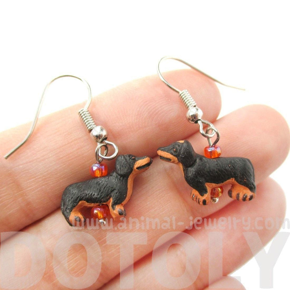 Mini Dachshund Puppy Dog Shaped Porcelain Ceramic Animal Dangle Earrings | Handmade | DOTOLY