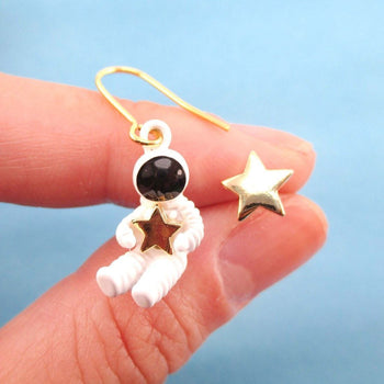 Miniature Astronaut and Star Shaped Enamel Earrings | Space Themed Jewelry | DOTOLY