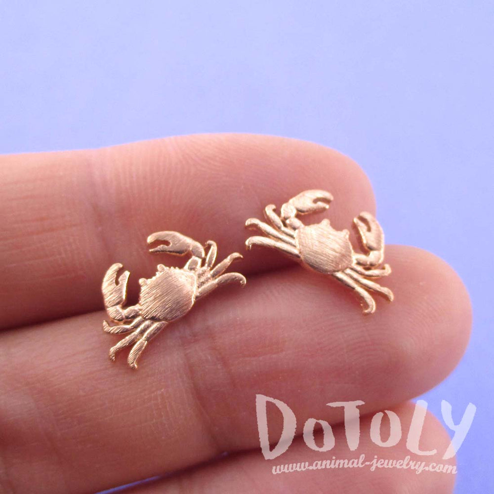 Miniature Crab Shaped Sea Inspired Stud Earrings in Rose Gold