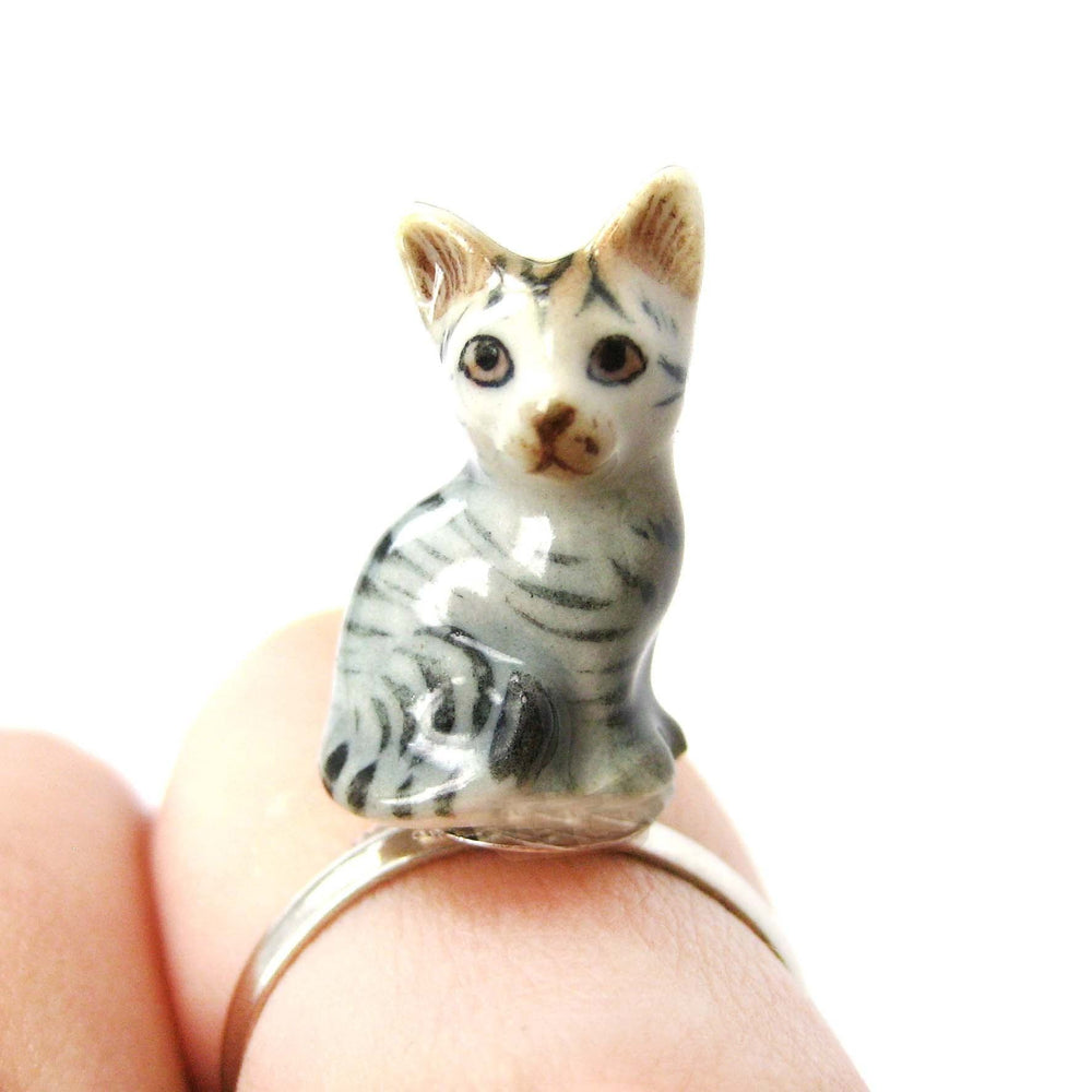 Miniature Grey and Black Striped Kitty Cat Porcelain Ceramic Animal Adjustable Ring | Handmade | DOTOLY