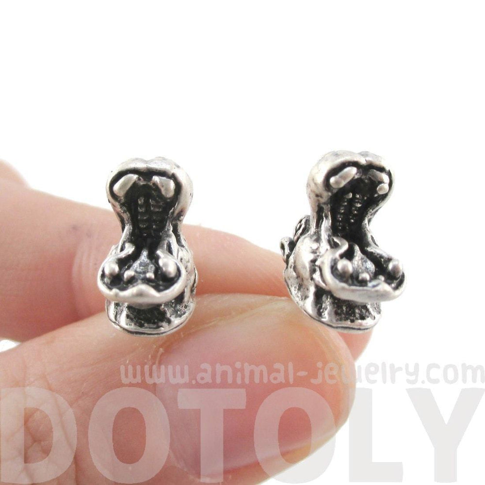 Miniature Hippo Shaped Realistic Stud Earrings in Silver | Animal Jewelry | DOTOLY