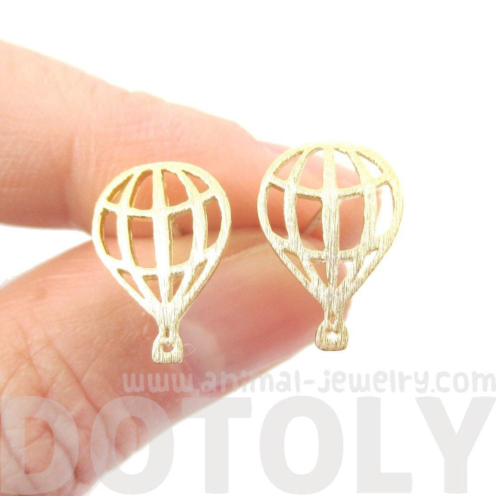 Miniature Hot Air Balloon Outline Cut Out Shaped Stud Earrings in Gold | DOTOLY | DOTOLY