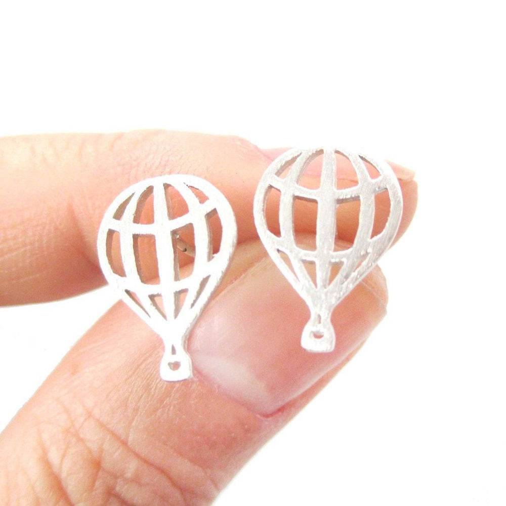 Miniature Hot Air Balloon Outline Cut Out Shaped Stud Earrings in Silver | DOTOLY | DOTOLY