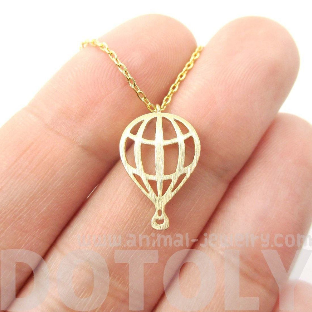 Miniature Hot Air Balloon Shaped Cut Out Charm Necklace in Gold | DOTOLY | DOTOLY