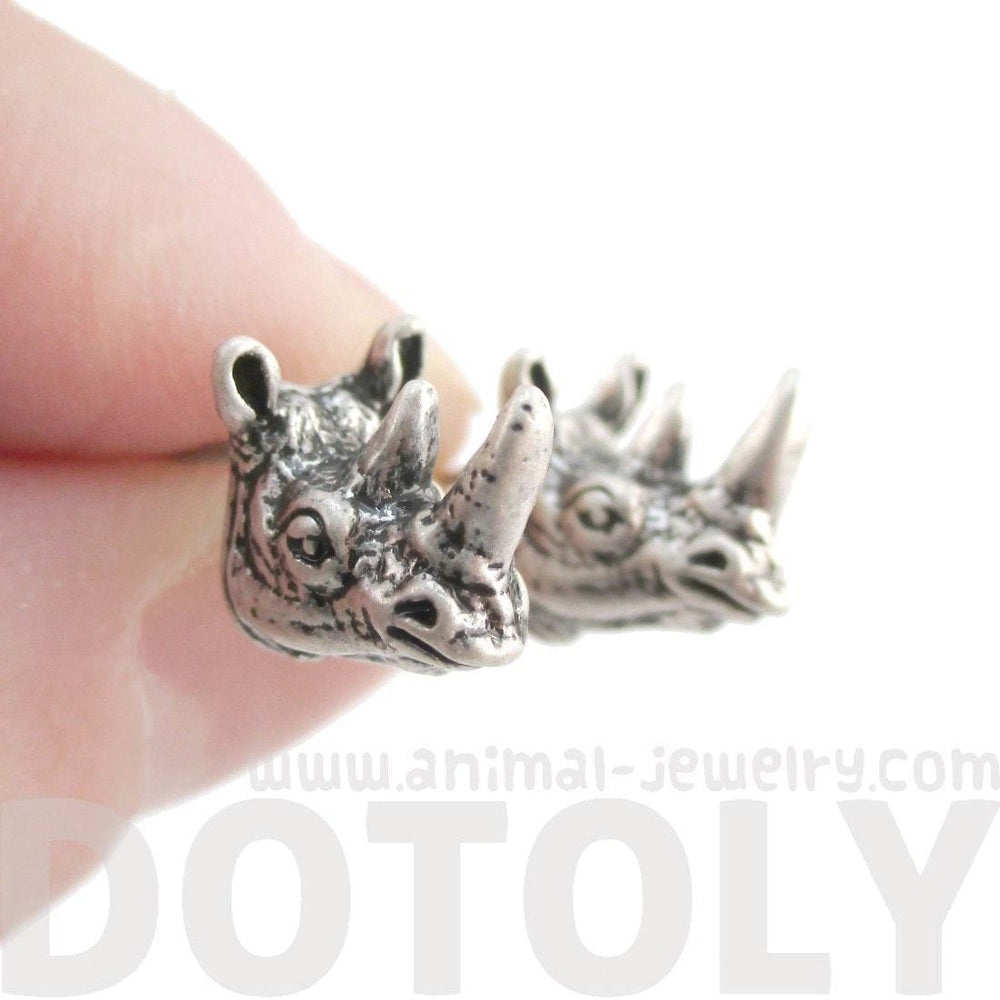 Miniature Rhino Shaped Realistic Stud Earrings in Silver | Animal Jewelry | DOTOLY
