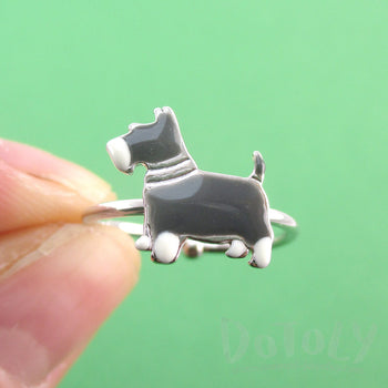 Miniature Schnauzer Dog Shaped Adjustable Ring in Silver | DOTOLY
