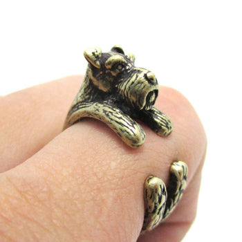 Miniature Schnauzer Dog Shaped Animal Wrap Ring in Brass | US Sizes 5 to 9 | DOTOLY