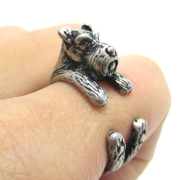 Miniature Schnauzer Dog Shaped Animal Wrap Ring in Silver | US Sizes 5 to 9 | DOTOLY