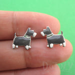 Miniature Schnauzer Dog Shaped Stud Earrings in Silver for Dog Lovers