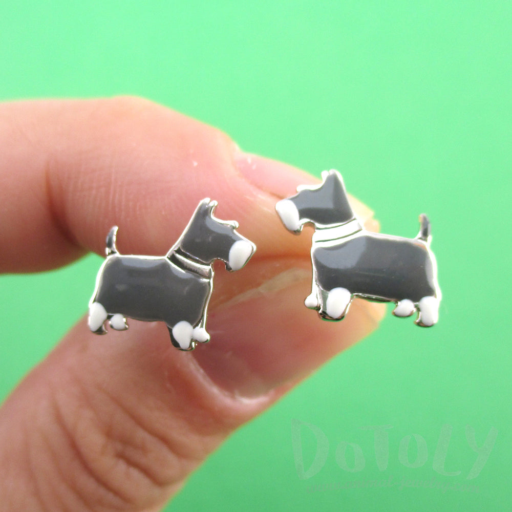 Miniature Schnauzer Dog Shaped Stud Earrings in Silver for Dog Lovers | DOTOLY