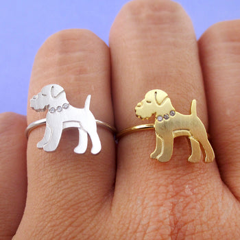 Miniature Schnauzer Dog with Rhinestone Collar Shaped Adjustable Ring | DOTOLY