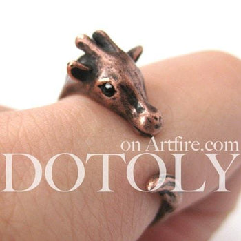 Mother Giraffe Animal Wrap Around Ring in Copper - Sizes 4 to 9 Available | DOTOLY
