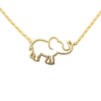 Minimal Baby Elephant Outline Shaped Pendant Necklace in Gold | Animal Jewelry | DOTOLY