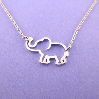 Minimal Baby Elephant Outline Shaped Pendant Necklace in Silver | Animal Jewelry | DOTOLY