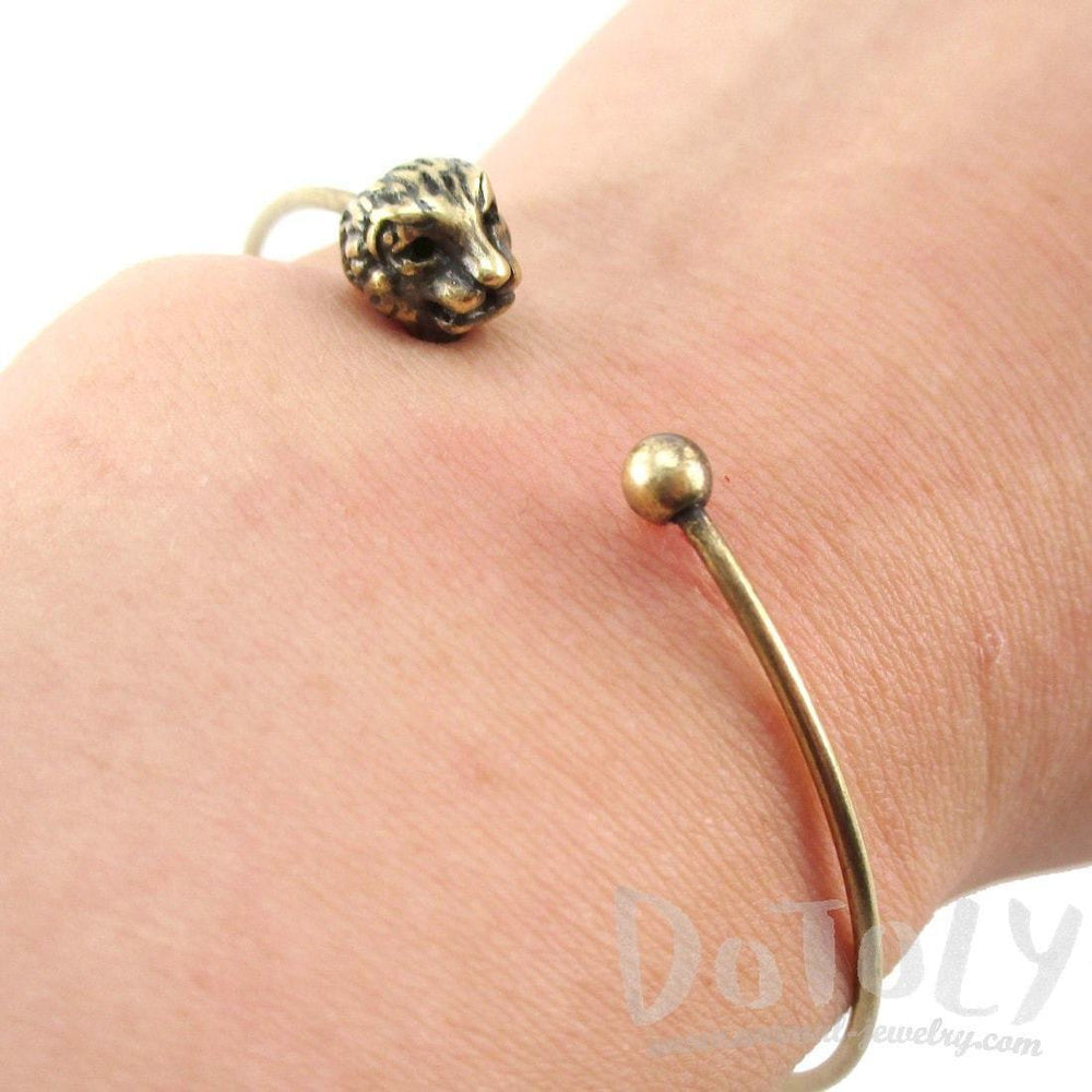 Minimal Bangle Bracelet Cuff with Lion Head Detail in Brass | Animal Jewelry | DOTOLY