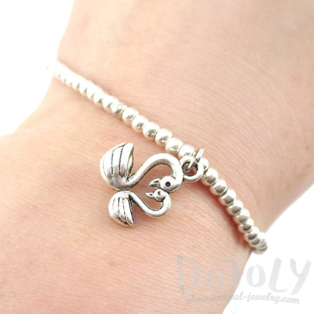 Minimal Beaded Stretchy Bracelet with Love Bird Swan Shaped Charm | DOTOLY | DOTOLY