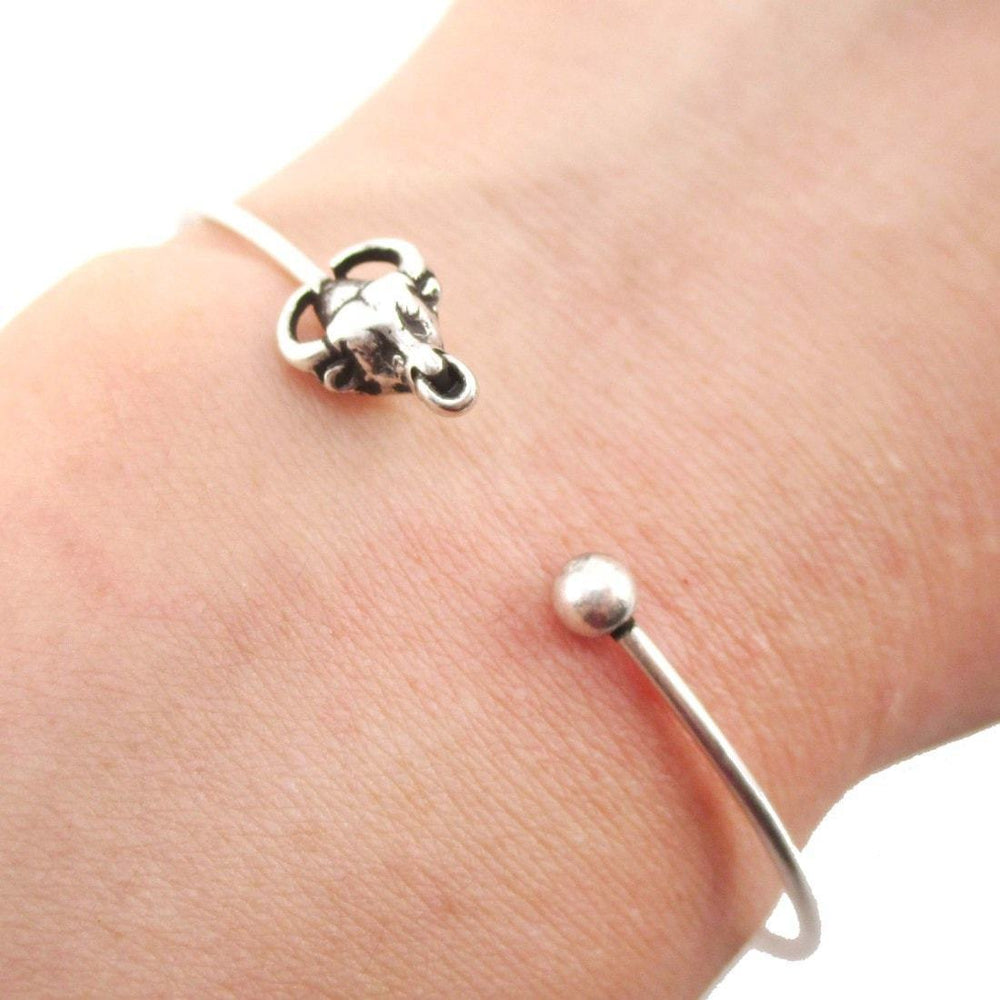 Minimal Bull Taurus Cow Charm Bangle Bracelet Cuff in Silver | Animal Jewelry | DOTOLY