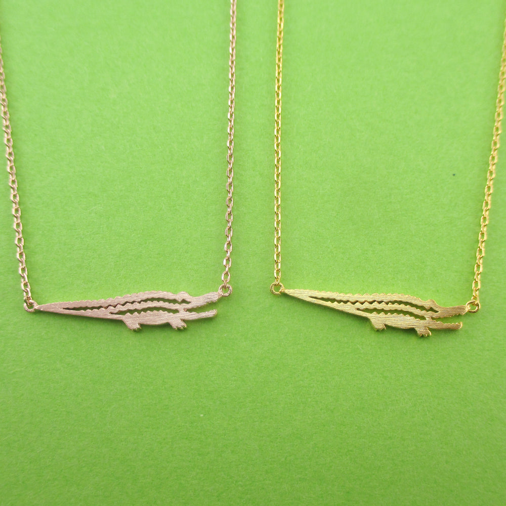 Crocodile Alligator Shaped Charm Necklace in Gold or Rose Gold