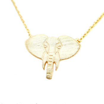 Minimal Elephant Face Shaped Charm Necklace in Gold | Animal Jewelry | DOTOLY