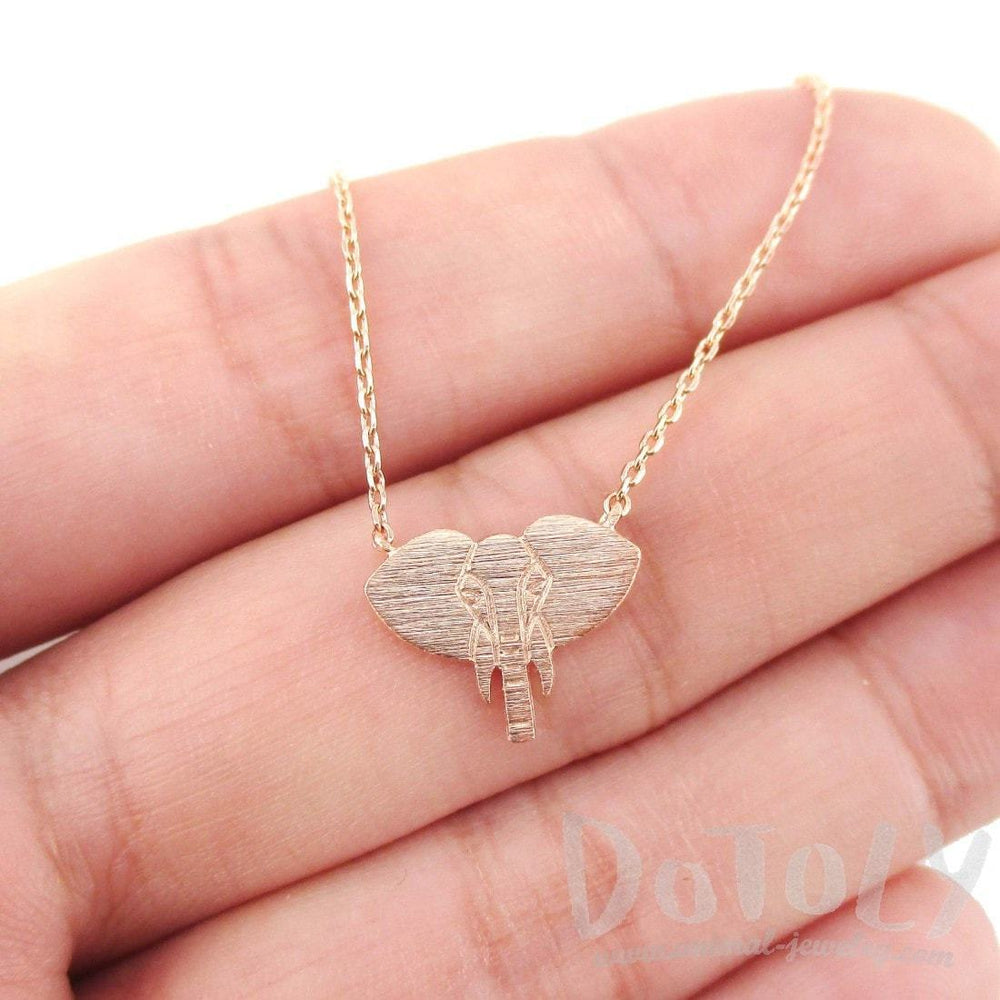 Minimal Elephant Face Shaped Charm Necklace in Rose Gold | Animal Jewelry | DOTOLY