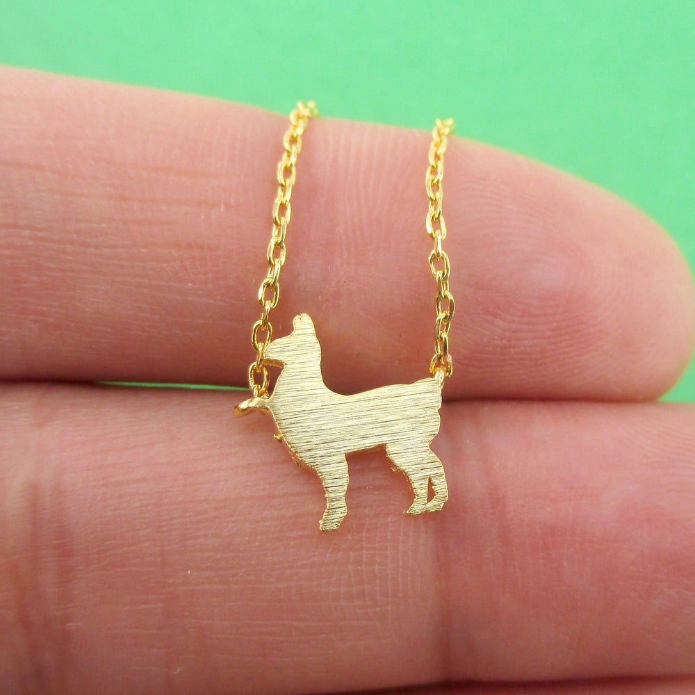 Minimal Llama Alpaca Shaped Silhouette Pendant Necklace | DOTOLY