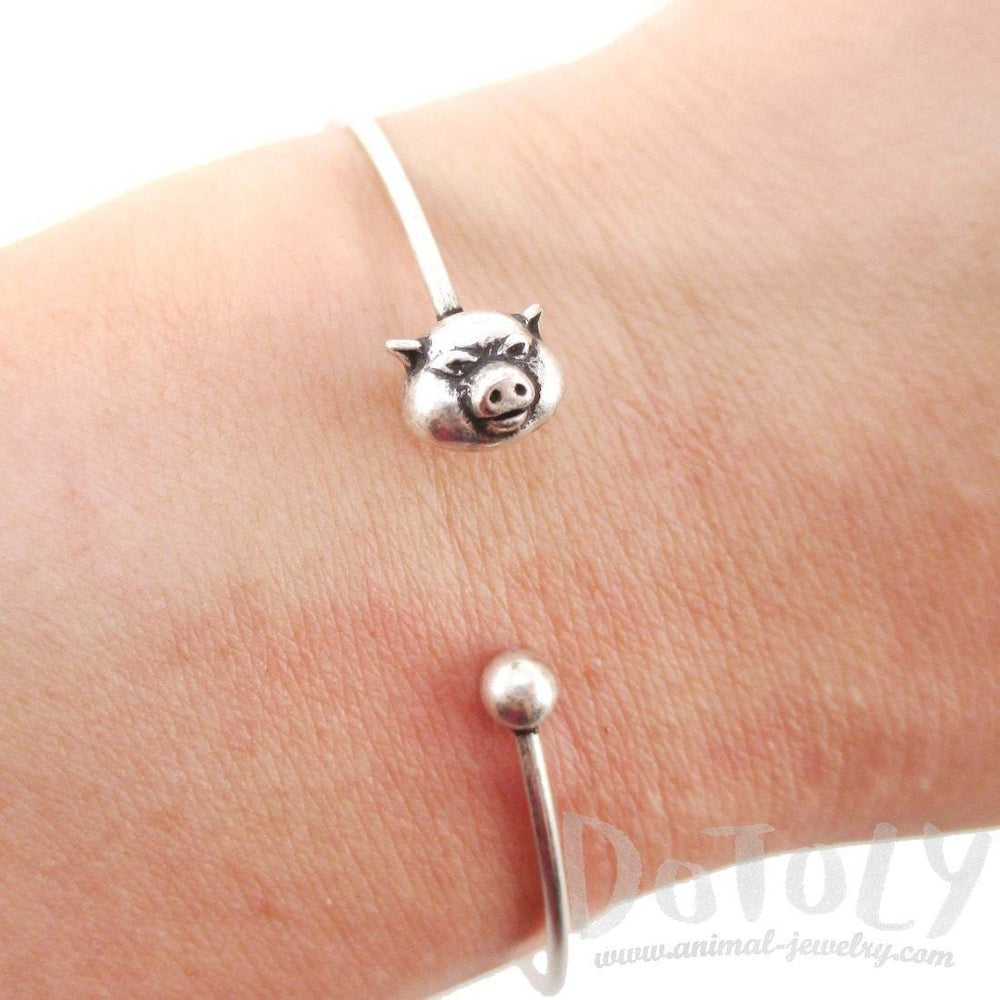 Minimal Piglet Pig Charm Bangle Bracelet Cuff in Silver | Animal Jewelry | DOTOLY