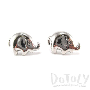 Minimal Round Elephant Shaped Stud Earrings in Silver | Animal Jewelry | DOTOLY