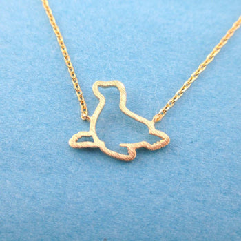 Minimal Sea Lion Seal Outline Shaped Charm Necklace in Gold | Animal Jewelry | DOTOLY